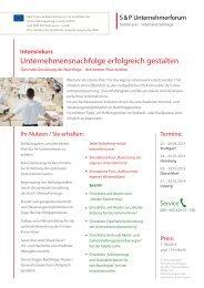 Unternehmensnachfolge erfolgreich gestalten - SP-Unternehmerforum