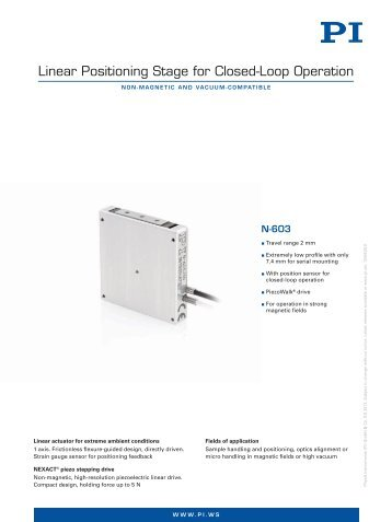 N-603 Linear Positioning Stage for Closed-Loop Operation (PDF)