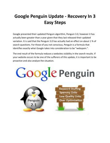 Google Penguin Update - Recovery In 3 Easy Steps