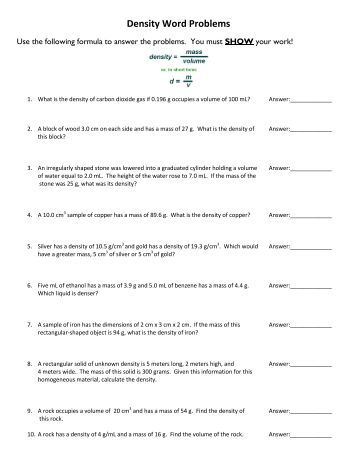 Worksheet Density Worksheet Chemistry density problems worksheet with answers delwfg com word problem exercises science problems