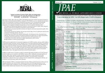 Conversing about the MPA: An ASPA Report and a NASPAA ...
