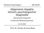 Allgemeine Aspekte klinisch-psychologischer Diagnostik