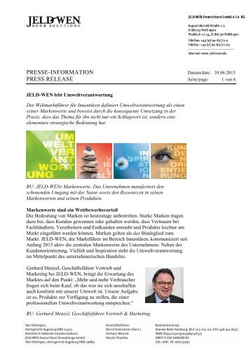 PRESSE-INFORMATION PRESS RELEASE - JELD-WEN Türen