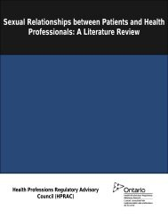 Literature Review - Health Professions Regulatory Advisory Council