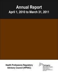 2010-2011 - Health Professions Regulatory Advisory Council