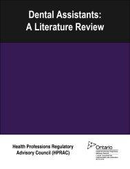 Literature Review - Health Professions Regulatory Advisory Council