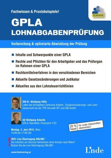 AUFZEICHNUNG GPLA - Lohnabgabenprüfung - Linde Verlag