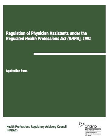 Table of Contents - Health Professions Regulatory Advisory Council