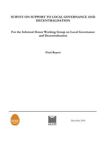 survey on support to local governance and ... - Dege consult