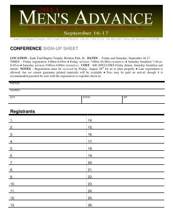 conference sign in sheets