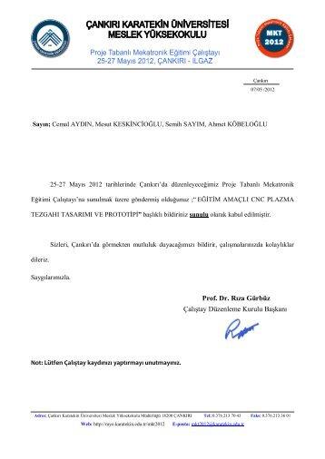 Bildiri kabul yazıları - Meslek Yüksekokulu - Çankırı Karatekin ...