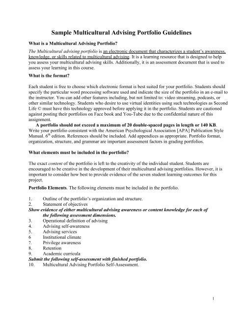 Sample Multicultural Advising Portfolio Guidelines - Kansas