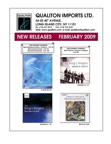 QUALITON IMPORTS LTD. NEW RELEASES FEBRUARY 2009