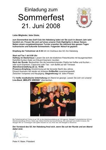 Einladung Sommerfest 2008 - Jura Golf Park