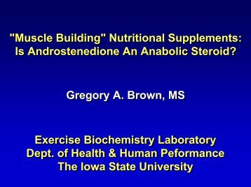 The characteristics of androstenedion a nutritional dietary supplement
