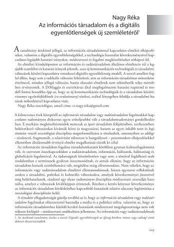 Nagy Réka Az információs társadalom és a digitális ...