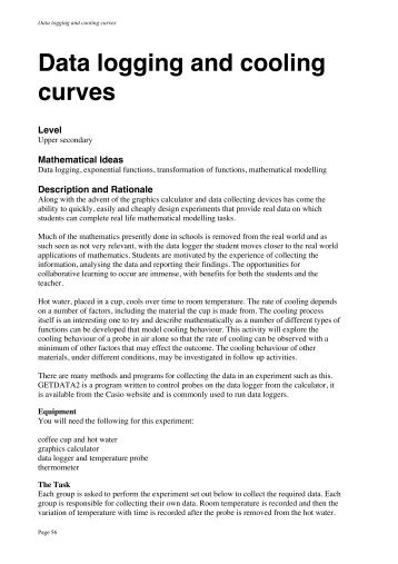 Data logging and cooling curves - CasioEd