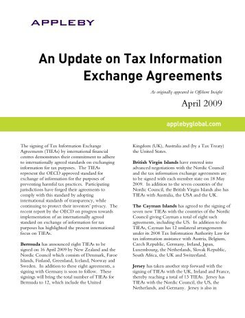 An Update On Tax Information Exchange Agreements ...   Appleby