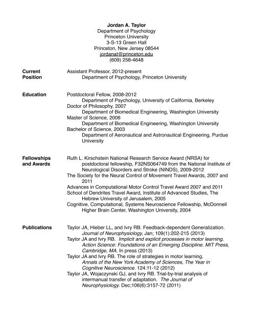 PDF of Curriculum Vitae - Department of Psychology - Princeton