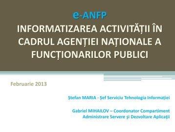 Informatizarea activităţii în cadrul ANFP