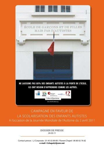 campagne en faveur de la scolarisation des ... - Autisme France