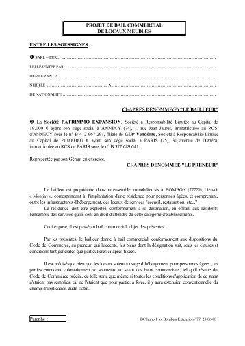 Paraphe : PROJET DE BAIL COMMERCIAL DE LOCAUX ... - CN2i