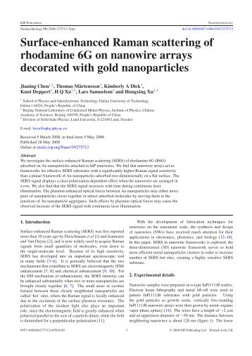 Surface-enhanced Raman scattering of rhodamine ... - ResearchGate