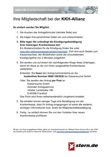 Beitrittserklärung Kkh