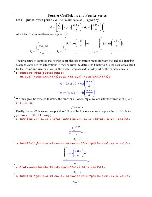 Fourier Coefficients and Fourier Series