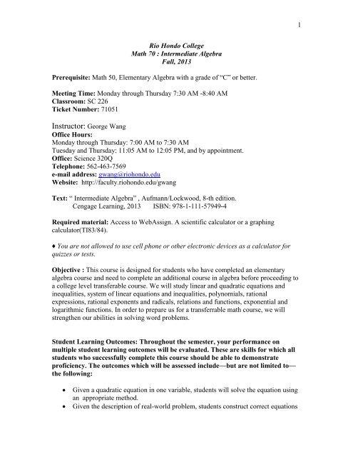 MATH70-Syllabus-PDF - Rio Hondo Community College Faculty