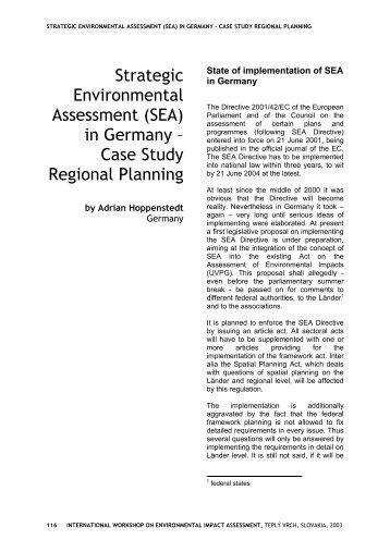 Strategic Environmental Assessment (SEA) in Germany – Case ...