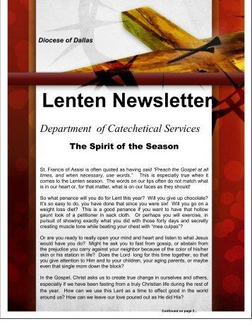 Lenten Newsletter - Diocese of Dallas