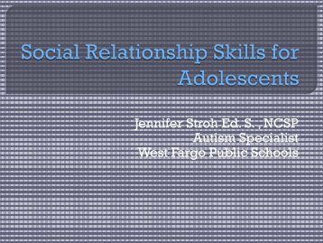 Social Relationship Skills for Adolescents