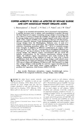 copper mobility in soils as affected by sewage sludge ... - PC-Progress