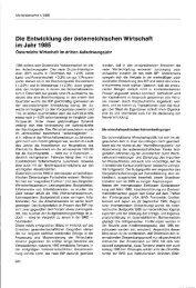 Die Entwicklung der österreichischen Wirtschaft im Jahr 1985 - Wifo