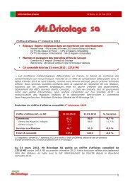 Chiffre d'affaires T1 2013 - Groupe Mr.Bricolage