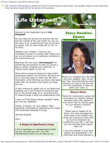 Six Steps to Significant Living with Stacy Hawkins Adams