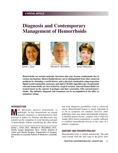 Diagnosis And Contemporary Management Of Hemorrhoids