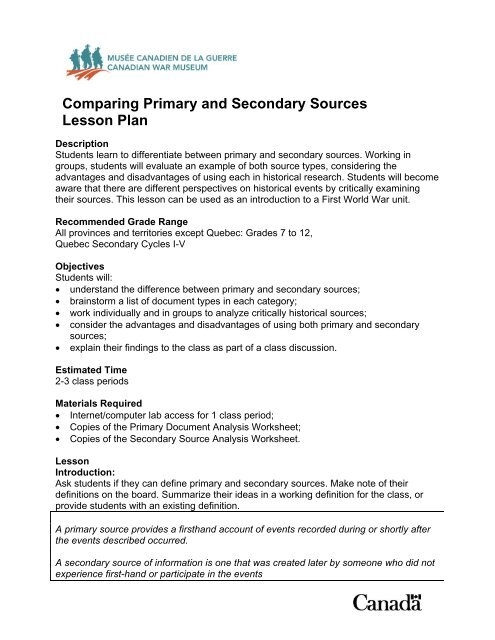 Comparing Primary and Secondary Sources Lesson Plan