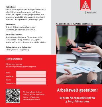 Einladung zum Seminar für VW-Angestellte - IG Metall Nordhessen
