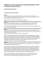 Humanistiska fakultetens uppföljning av 2010 års arbete utifrån ...