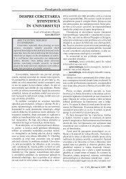 DESPRE CERCETAREA ŞTIINŢIFICĂ ÎN UNIVERSITĂŢI - Akademos