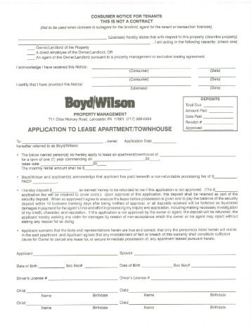 Attachment   Application To Rent  Apartments
