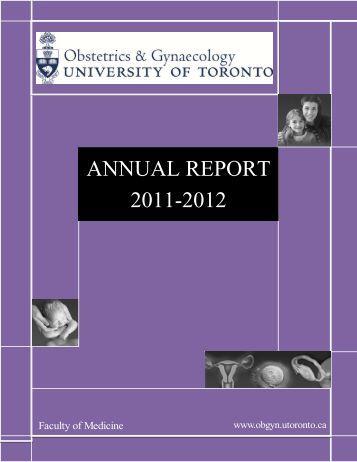 ANNUAL REPORT 2011-2012 - University of Toronto Department of ...