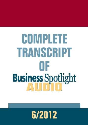 audio transcript - Business Spotlight