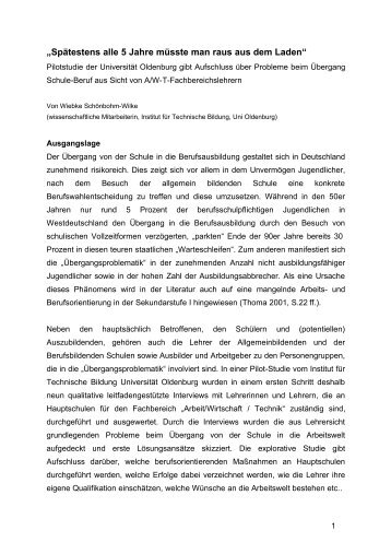 Auswertung der Interviews - Technische Bildung - Universität ...
