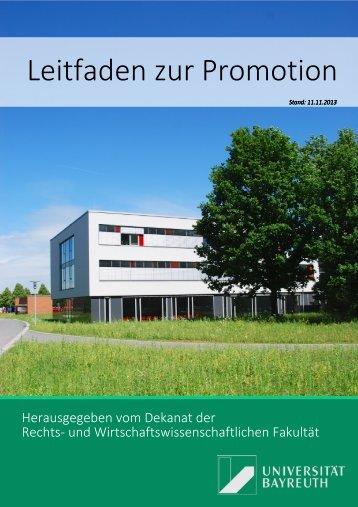 Promotionsleitfaden (pdf) - Rechts - Universität Bayreuth