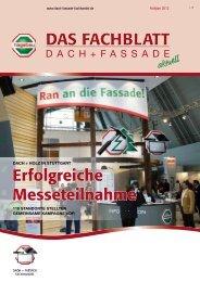 Neue Kundenzeitschrift Dach + Fassade Nr. 1 / 2012
