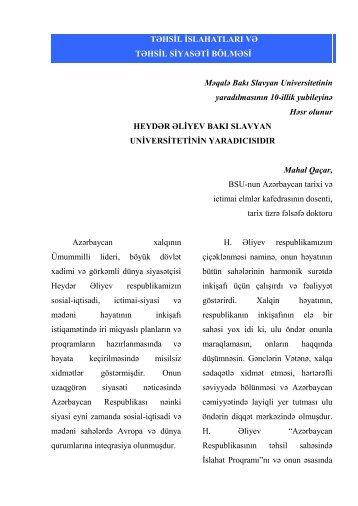 davamı... - Bakı Slavyan Universiteti