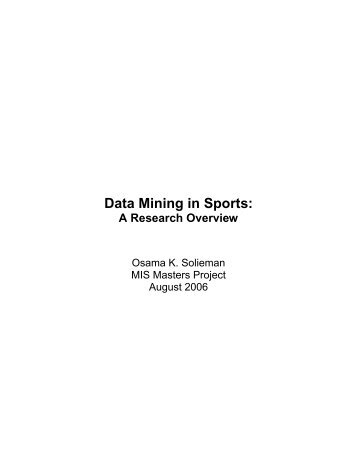Data Mining in Sports: - Artificial Intelligence Laboratory
